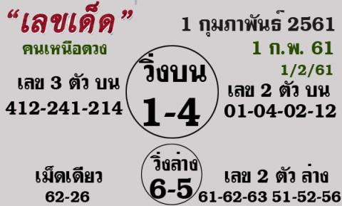 คนเหนือดวง เลขเด็ดคนเหนือดวง ประจำงวด 1 กุมภาพันธ์ 2561 นี้ 1/2/61 งวด 1 ก.พ. 61 หวยคนเหนือดวง